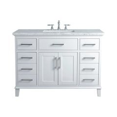 48 inch Leigh Single Sink Vanity - Marble Carrara White Top - White