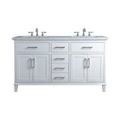60 inch Leigh Double Sink Vanity - Marble Carrara White Top - White