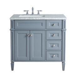 36 inch Anastasia French Single Sink Vanity - Marble Carrara White Top - Grey