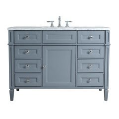 48 inch Anastasia French Single Sink Vanity - Marble Carrara White Top - Grey