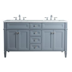 60 inch Anastasia French Double Sink Vanity - Marble Carrara White Top - Grey