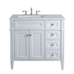 36 inch Anastasia French Single Sink Vanity - Marble Carrara White Top - White