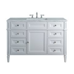 48 inch Anastasia French Single Sink Vanity - Marble Carrara White Top - White