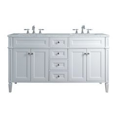 60 inch Anastasia French Double Sink Vanity - Marble Carrara White Top - White