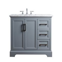 36 inch Ariane Single Sink Vanity - Marble Carrara White Top - Slate Gray
