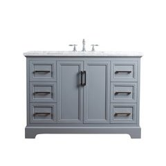 48 inch Ariane Single Sink Vanity - Marble Carrara White Top - Slate Gray