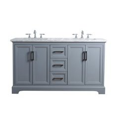 60 inch Ariane Double Sink Vanity - Marble Carrara White Top - Slate