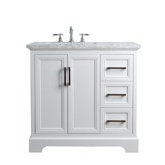 36 inch Ariane Single Sink Vanity - Marble Carrara White Top - White