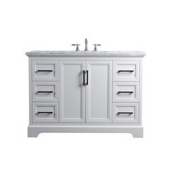 48 inch Ariane Single Sink Vanity - Marble Carrara White Top - White