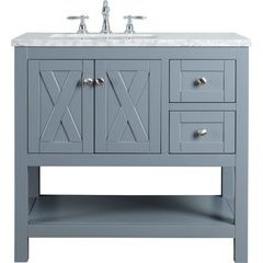 36 inch Anabelle Single Sink Vanity - Marble Carrara White Top - Grey