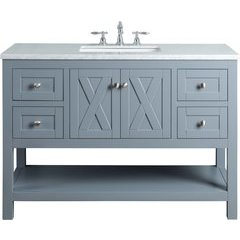 48 inch Anabelle Single Sink Vanity - Marble Carrara White Top - Grey
