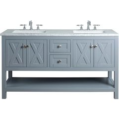 60 inch Anabelle Double Sink Vanity - Marble Carrara White Top - Grey