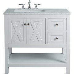 36 inch Anabelle Single Sink Vanity - Marble Carrara White Top - White