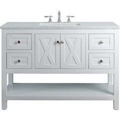 48 inch Anabelle Single Sink Vanity - Marble Carrara White Top - White