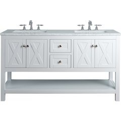 60 inch Anabelle Double Sink Vanity - Marble Carrara White Top - White