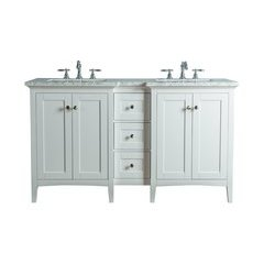 Tower Modern 60 Inches Double Sink Bathroom Vanity - White
