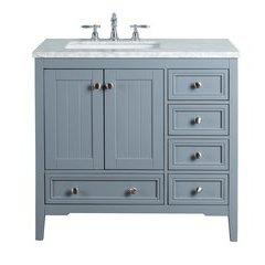 36 inch New Yorker Single Sink Vanity - Marble Carrara White Top - Grey