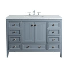 48 inch New Yorker Single Sink Vanity - Marble Carrara White Top - Grey