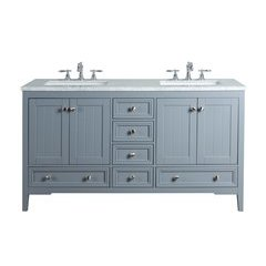 60 inch New Yorker Double Sink Vanity - Marble Carrara White Top - Grey