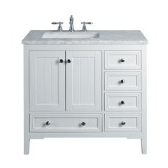 36 inch New Yorker Single Sink Vanity - Marble Carrara White Top - White