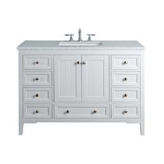 48 inch New Yorker Single Sink Vanity - Marble Carrara White Top - White