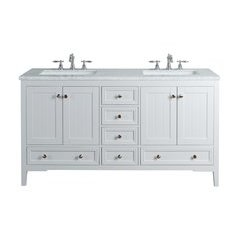 60 inch New Yorker Single Sink Vanity - Marble Carrara White Top - White