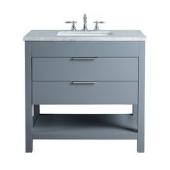 36 inch Rochester Single Sink Vanity - Marble Carrara White Top - Grey