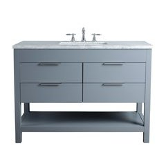 48 inch Rochester Single Sink Vanity - Marble Carrara White Top - Grey