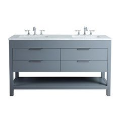60 inch Rochester Double Sink Vanity - Marble Carrara White Top - Grey