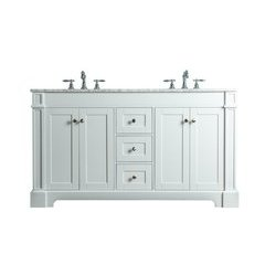 Seine 60 Inches Double Sink Bathroom Vanity - White