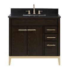 "37"" Hepburn Combo Vanity - Black Granite Top"