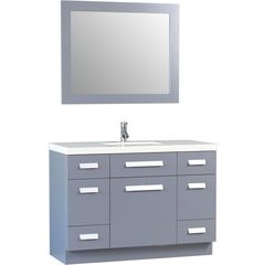 48 Inch Moscony Single Sink Vanity Set with Mirror - Gray