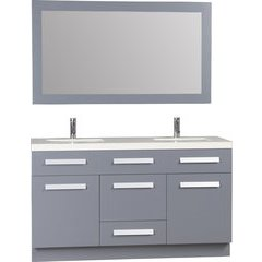 60 Inch Moscony Single Sink Vanity Set with Mirror - Gray