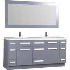 72 Inch Moscony Double Sink Vanity Set with Mirror - Gray