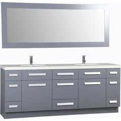 84 Inch Moscony Double Sink Vanity Set with Mirror - Gray