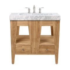 33 Inch Jameston Vanity Combo - Natural Teak with Integrated Carrera Marble Top