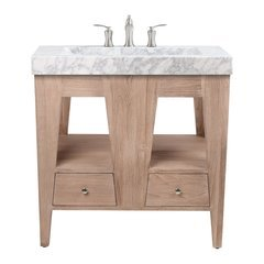 33 Inch Jameston Vanity Combo - Rustic Teak with Integrated Carrera Marble Top