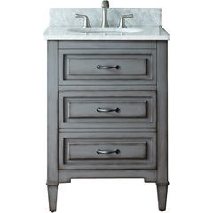 "25"" Kelly Single Vanity - Carrera White Marble Top"