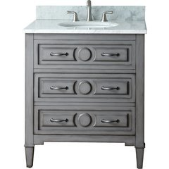 "31"" Kelly Single Vanity - Carrera White Marble Top"