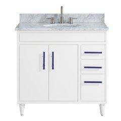 "37"" Layla Combo Vanity - Carrara White Marble Top"