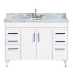 "49"" Layla Combo Vanity - Carrara White Marble Top"