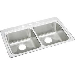 Lustertone Classic 22 Equal Double Bowl Drop-in ADA Sink - Lustrous Satin