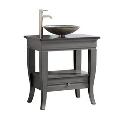 "31"" Milano Single Vanity - Light Charcoal Granite Vessel Top"