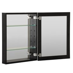 "16""X20"" Metal Medicine Cabinet Beveled Mirror, Slow Close, Metal Side Kit-Black"