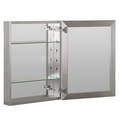 "16""X20"" Medicine Cabinet Beveled Mirror, Slow Close, Metal Side Kit-Brush Nickel"