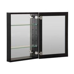 "20""X26"" Metal Medicine Cabinet Beveled Mirror, Slow Close, Metal Side Kit-Black"