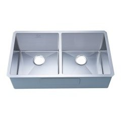 "33"" Undermount Double Bowl Kitchen Sink - Stainless Steel"