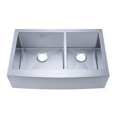 "33"" Apron Front/Farmhouse Double Bowl Kitchen Sink - Stainless Steel"