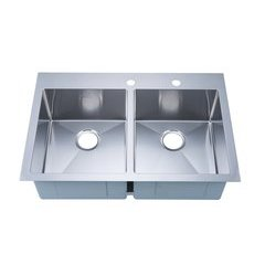 "33"" Top Mount Double Bowl Kitchen Sink - Stainless Steel"