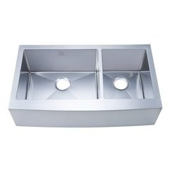 "36"" Apron Front/Farmhouse Double Bowl Kitchen Sink - Stainless Steel"